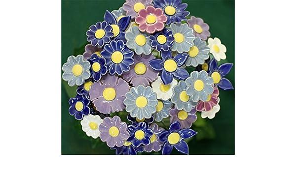 """Set /""""Frühling/"""" Blume Keramikblumen Stele winterfest Garten Dekoration"""