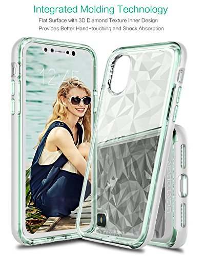 iPhone X Hülle Case Durchsichtig, BENTOBEN iPhone X Handyhülle stoßfest kratzfest 3D Geometrische Motiv mit Plating PC Bumper Silikon Case für Apple iPhone X / iPhone 10, Transparent Rose Gold K005-Transparent Weiß Grün