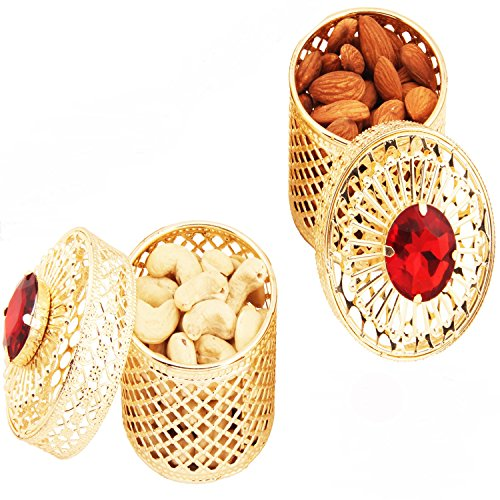 Ghasitaram Gifts Diwali Gifts Dry Fruits Hamper - Golden Small Barnis/Jewellery Boxes with Dryfruits  available at amazon for Rs.989