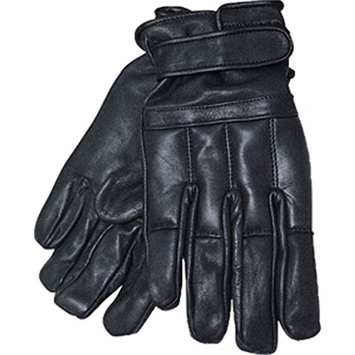 Commando Industries Handschuhe Swat Defender II aus Leder mit Quarzsand Knöchelschutz Fingerschutz Securityhandschuhe Schwarz Größe S-XXL ()