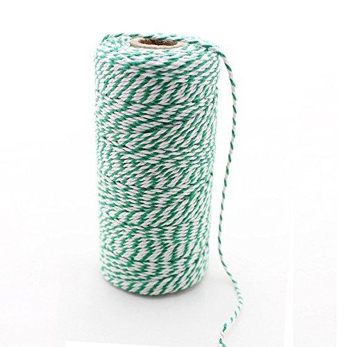Ipalmay Bobine de ficelle de boulangers en coton 3 plis Multicolore 100 m Taille unique Vert et blanc.