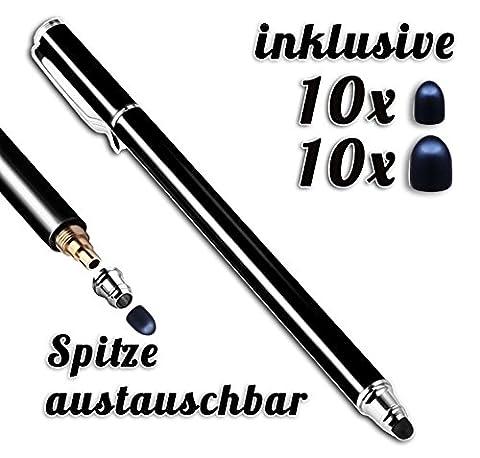 Premium Touchstift schwarz mit 20 x Ersatzspitzen Eingabestift Stylus Touch