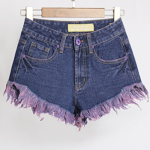 Baymate Damen Jeans Hohe Taille Kurze Hose Hot Pants Shorts Panty Dunkel Blau