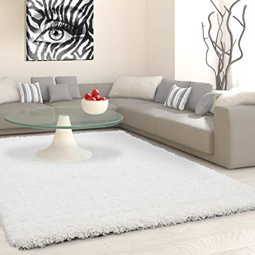 Hochflor Langflor Shaggy Teppich Uni Farbe Verschiedene Größen und Farben - Creme, 160x230 cm -