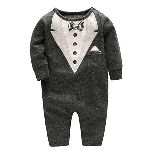Bebone Baby Strampler Jungen Mädchen Overall Neugeborenen Kleidung Anzug (0-3 Monate, Schwarz)