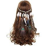 Damen Hippie Boho Indianer kopfschmuck - AWAYTR Feder-Stirnband für Abendkleider Halloween Karneval