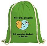 ShirtStreet natur Turnbeutel Rucksack Gymsac Vögelchen - Bitte nicht schubsen, Größe: onesize,grün natur
