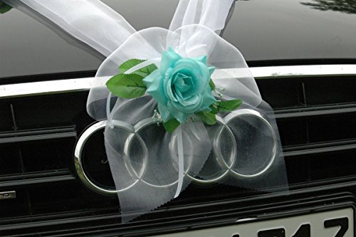 ORGANZA M Auto Schmuck Braut Paar Rose Deko Dekoration Autoschmuck Hochzeit Car Auto Wedding Deko Girlande PKW (Türkis / Weiß)