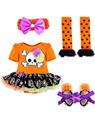 FEESHOW 4PCS Infantil Bebés Trajes De Halloween Una Mameluco +Venda+Calentador de pierna+Zapatos SZ 0-9 Meses