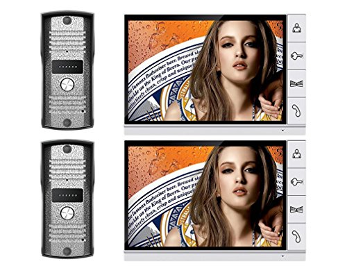 AMOCAM ' 9LCD Big Monitor Wired Video Door Phone intercom Doorbell System 700TVL IR Night Vision Camera Doorphone door bell 2-monitor 2-camera (Door Video Cmos Phone)