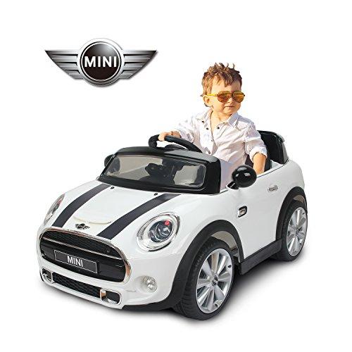 Homcom BMW Mini Hatch Voiture Véhicule Electrique Enfant 12V 2 Moteurs 2.5-5KM/H Télécommande Musique Phare Rouge (Blanc)