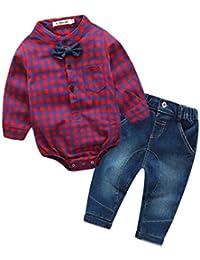 MYQyiyi Bebé niño, Ropa de Arco Bonito Caballero Camisa a Cuadros+Pantalones
