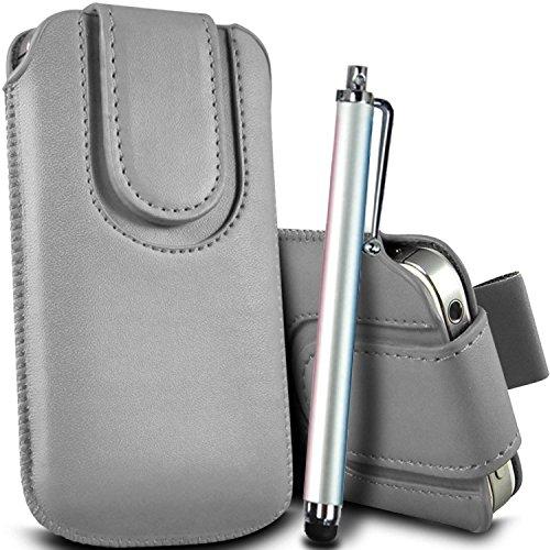 Brun/Brown - ZTE Blade Qlux 4G Housse et étui de protection en cuir PU de qualité supérieure à cordon avec fermeture par bouton magnétique et stylet tactile pour par Gadget Giant® Gris/Gray & Stylus Pen