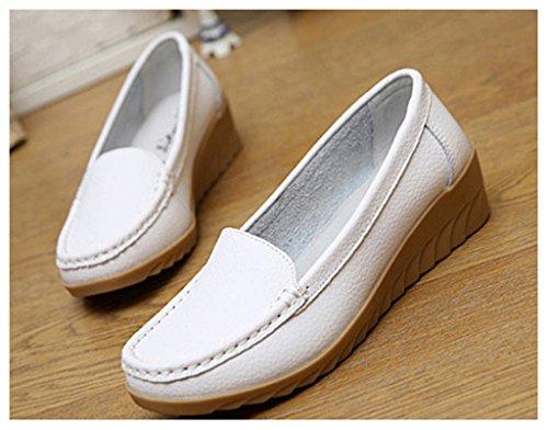 NEWZCERS Chaussures confortables en cuir de vachette pour femmes en mocassin Blanc