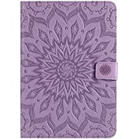 iPad Mini Funda Móvil, iPad Mini 2, iPad Mini 3 Funda, surakey iPad Mini 1/2/3 Smart Case Cover Piel Funda Cartera Funda, relieve Mandala Girasol pintura Patrón PU Funda de piel flip Wallet Case Estilo Libro Cover Fundas soporte Ranura para Tarjetas Funda Smart Shell Cover Carcasa Funda para iPad Mini/iPad Mini 2/iPad Mini 3