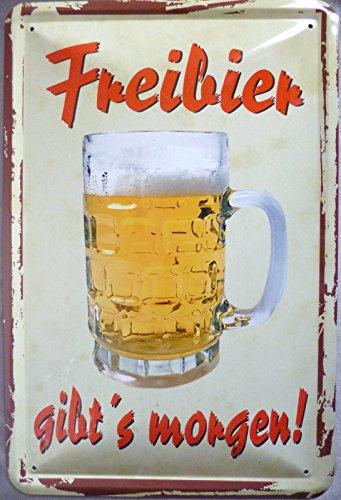 Blechschild 20x30cm - Freibier gibt´s morgen Bier Vintage Hinweisschild Schild