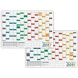 lysco Rainbow Calendario plegado de pared, 2016+ 2017–Formato DIN A2(594x 420mm), con 14meses, completa previsualización año 2018y días festivos de todos los países