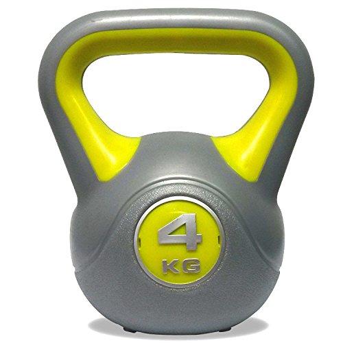 DKN Unisex 4kg Vinyl Kettlebell, Grey/Yellow, 4 kg