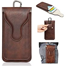 YiJee, custodia protettiva per smartphone in ecopelle PU con doppia tasca e moschettone, adatta ad iPhone e smartphone da 5,5 pollici, Pelle sintetica PU, brown, 16*10*2.5cm
