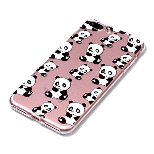 """Linvei Hülle für Apple iPhone 7 Plus(5.5"""")- TPU Silikon Backcover Case Handy Schutzhülle - Schlafende Katze und Bücher Kleiner Panda"""