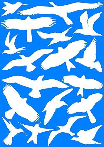 18Pegatinas para pájaros para ventanas, invernaderos, cristal Casas para pájaros Advertencia de protección, Pájaro siluetas de pájaros, protección contra el Pájaro de impacto, ventana protección