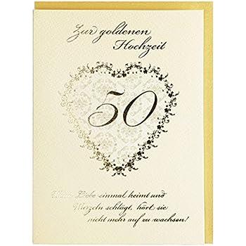 Glückwunschkarte Zur Goldenen Hochzeit Creme Gold Mit Spruch