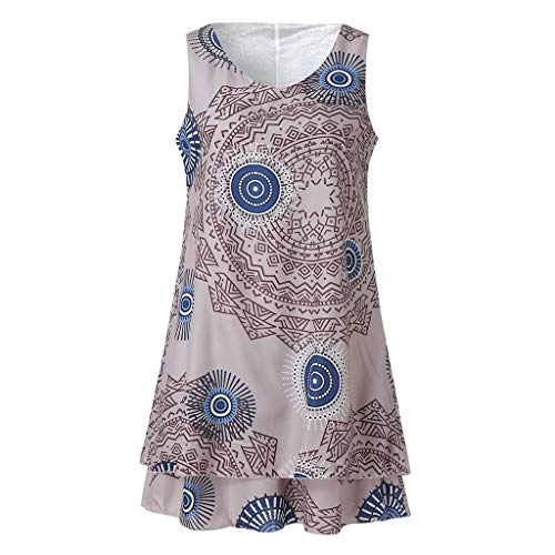 leid Plus Size Print Midi Kleid Loose Shift Sleeveless Tank Vest Sun Dresses ()