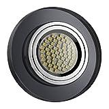 LED Einbaustrahler / Glas-Alu-Cristal / Spot / Einbauleuchte / Einbauspot / RUND-SCHWARZ-119440 / GU10-230V (Warmweiß)