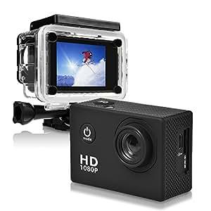 ONEU Action Cam estrema tasca Action Camera DV 1080P HD 30 M impermeabile Action Camera DVR 2 pollici Casco Fotocamera Sport DV Videocamera per Auto, Moto, Sci Premium, Nero