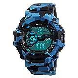 MagiDeal Multi Función Digital Reloj de Cuarzo Impermeable Deporte Reloj Camuflaje para Hombres - Camuflaje Azul