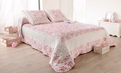 Linder 5039/60/835–copriletto matrimoniale toile de jouy 250x 260cm + 2federe 65x 65cm in poliestere, colore rosa