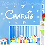 Windsor Designers Autocollant mural avec prénom et étoiles, style Disney chambre enfants, nursery B zz2, personnalisable, bleu bébé, -Large -SIZE 120cm x 40cm (48' x 16')