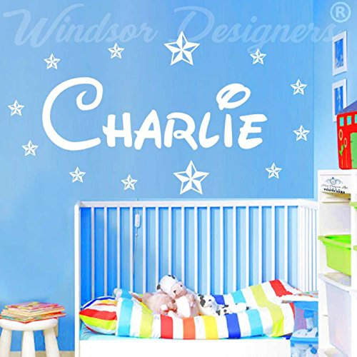 Windsor Designer–Personalisiertes Wandtattoo Namen, mit Sternen, Disney Stil, Kinder, Zimmer, Kinderzimmer B ZZ2, rose, -Small -SIZE 60cm x 20cm (24