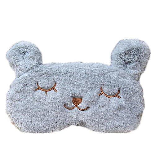 Carry stoneSchlafmaske Cute Velvet Rabbit Eye Shade Cover Patch mit kühlen, warmen Therapie-Gel-Pack Schlaf Reise Rest Blinder hoher Qualität