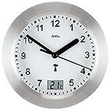 Runde AMS Wanduhr 5923 Funk Gehäuse Silber, wasserdichte Badezimmeruhr mit digitaler Temperatur-Anzeige