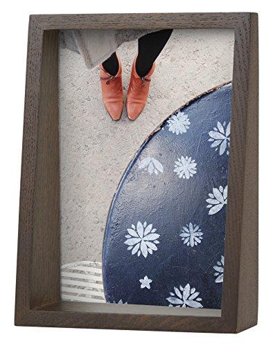 Umbra Edge 13x18 cm Bilderrahmen für Fotos, Kunstdrucke, Illustrationen, Bilder, Graphiken und Mehr – Moderner Wand- und Tisch Fotorahmen aus Eschenholz, Walnuss Antik - Walnuss-wand Montieren