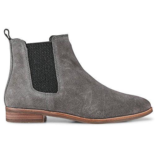 Cox Damen Damen Chelsea-Boots aus Leder, Stiefeletten in Grau mit gummierter Laufsohle Grau Leder 38