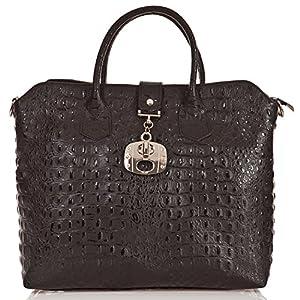 italienische Damen Handtasche Dallas aus echtem Leder in schwarz, Made in Italy, Shopper Bag 39x30 cm
