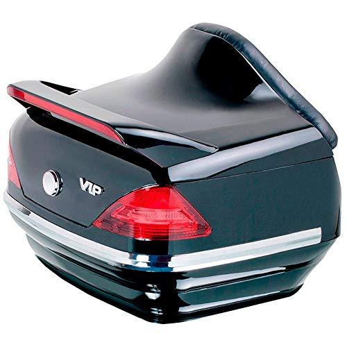 Vramack Seven - Baule rigido per moto con 40 litri di capacità, luci e schienaleColore: Nero lucido.Ha abbastanza capienza per contenere un casco.