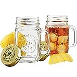 FunRun Glass Mason Jar Overnight Oats Mug, Home Made Glass Preserving Jar, Drinking Jar Glass, 500 ml, Set of 2