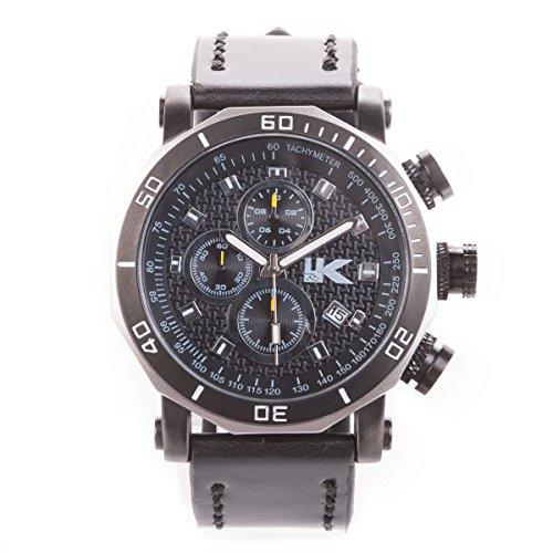 Yaki orologio uomo quadrante grande con data, orologio ragazzo da polso cinturino in pelle nero
