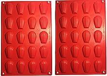 tosnail 2de silicona molde Madeleine Chocolate Forma Pudding Forma Galletas forma 30* 20cm, color rojo