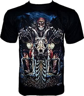 ROCK CHANG T-SHIRT Hell Rider (Glow In The Dark - lueur dans l'obscurité) Noir Black GR 369 (s m l xl xxl) (S)