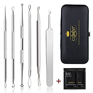 Blackhead Remover, Acne Pimple Comedone Extractor, Stainless Steel Blackhead Remover Tool Kit Set of 6Pcs ,Whitehead Removal Tool , Professional Extractor Tweezer Treatment for Blemish, Whitehead Popping, Zit Removing for Risk Free Nose Face Skin + 2Pcs Nose Mask