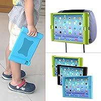 TFY Supporto iPad 2 / 3 / 4 Poggiatesta Auto per Bambini – Smontabile Leggero Anti-Urti Anti-Scivolo Silicone Morbido Cover Maniglia, nero