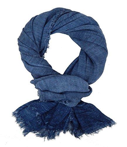 Ella Jonte Herrenschal blau Baumwolle Casual Leinen-Optik Vintage blauer Schal