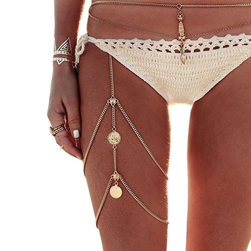 Amorar Frauen Körperschmuck Handgefertigte Kette Quaste Bein Kette Münzen Anhänger Multilayer Crossover Harness Garter Sexy Bikini Körper Kette Schmuck