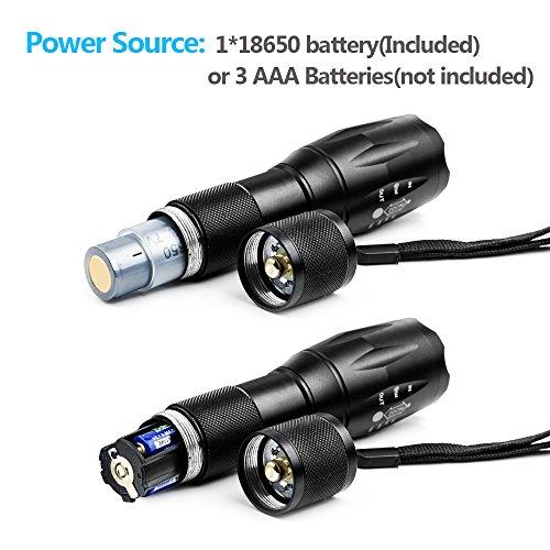 Lampe Torche de Poche LED 900LM Faisceau réglable et Rechargeable, Super Lumineuse Intensité Ajustable 5 modes (Pile rechargeable incluse)