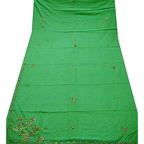 sari de la vendimia juegos de vestir georgette de arte bordado de bricolaje material utilizado verde decoración del hogar sari indio de Bollywood