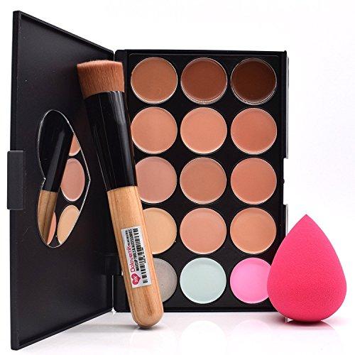 Dolovemk Face Ensemble de maquillage, contour Palette avec miroir Correcteur + Brosse + éponge Beauty Blender